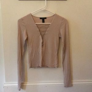 Tan long sleeved crop top